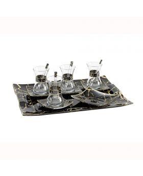 مجموعة أكواب الشاي ذات أطباق مع صينيّة تقديم Pierre Cardin Josie