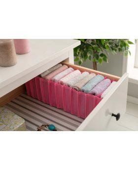 صندوق قماشي شكل اكورديون مقسم 11 قسم لترتيب الملابس داخل الدرج لون وردي 40x16x14 سم