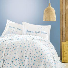 """طقم غطاء سرير قطني منقوش أزرق 100% قطن ماري كلير أنجل MARIE CLAIRE ANGELE مزدوج """" ثنائي"""""""