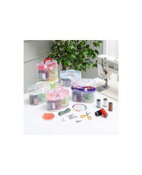 مجموعة خياطة داخل علبة بيضاوية بلاستيك
