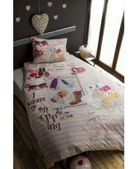 """طقم غطاء سرير ناعم مصنوع من قماش الرانفورس الفاخر مفرد """" لشخص واحد """" SHOPPING GIRL"""