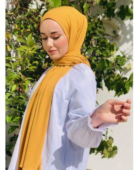 شال أنيق ذو تصميم مميز مصنوع من قماش قطني لون أصفر