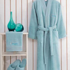 """طقم برنس حمام مقاس صغير s قطعة واحدة ومنشفة قطعة واحدة و زوج من الخُفّ """" نعل """" لون الأكوا ماري كلير MARIE CLAIRE"""
