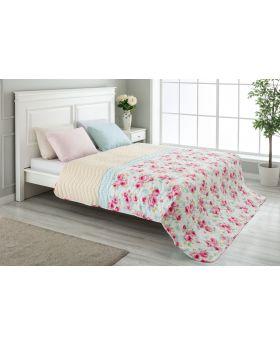 """غطاء سرير مُبطَّن مزدوج """" شخصين """" لون وردي 200x220 سم"""