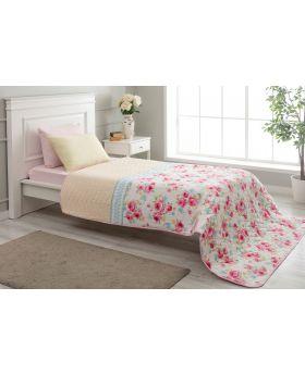 """غطاء سرير مُبطَّن مفرد """" شخص واحد """" لون وردي 160x220 سم"""