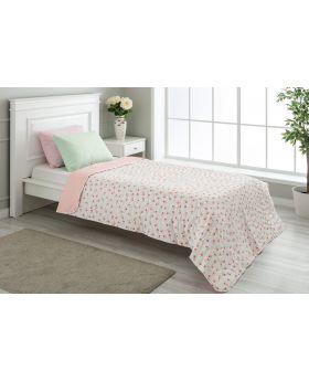 """غطاء سرير مُبطَّن مفرد """" شخص واحد """" لون سومون 160x220 سم"""