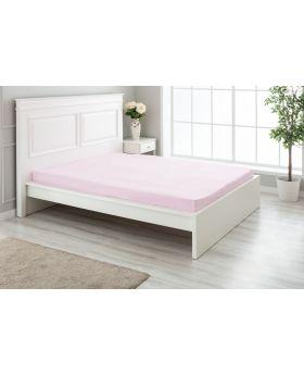 """مفرش سرير مزدوج """" شخصين """" ذو محيط مطاطي  160x200+30  سم لون وردي"""