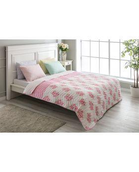 """غطاء سرير مُبطَّن مزدوج """" شخصين """" لون وردي ذو نقشة ورود 200x220 سم"""
