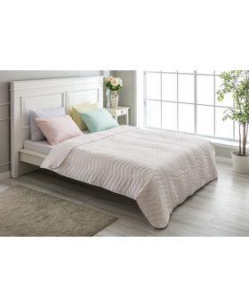 """غطاء سرير مُبطَّن مزدوج """" شخصين """" لون وردي منقط 200x220 سم"""
