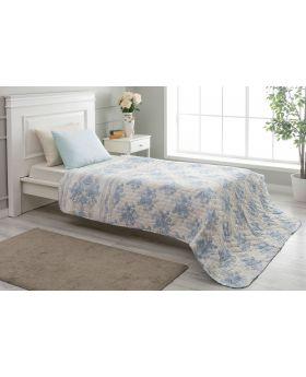 """غطاء سرير مُبطَّن مفرد """" شخص واحد """" لون أزرق 160x220 سم"""
