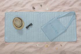 مجموعة الشاطئ (فِراش رقيق للشاطئ :65x150 سم-حقيبة) لون ازرق