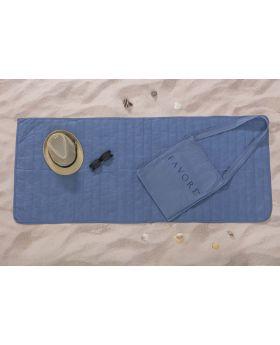 مجموعة الشاطئ (فِراش رقيق للشاطئ :65x150 سم-حقيبة) لون أزرق
