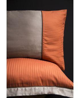 """طقم غطاء سرير ساتان برتقالي اللون مزدوج """" شخصين """" ANNETTE"""