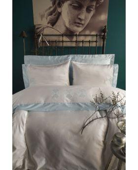 """طقم غطاء سرير ساتان لون أزرق مزدوج """" شخصين """"  BLANCHE"""