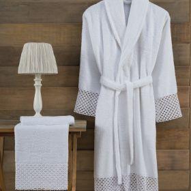 طقم برنس L/XL قطعة واحدة 50×90سم أبيض اللون مصنوع من قطن وخيط طبيعي من خيوط الخيزران ماري كلير فاليري MARIE CLAIRE VALERIE