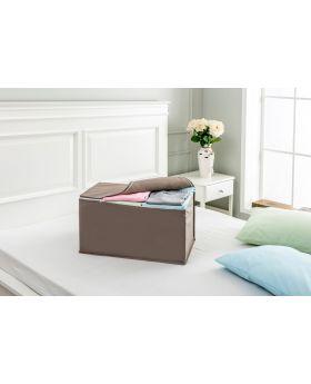 صندوق قماشي لون بني سادة  63x42x34سم